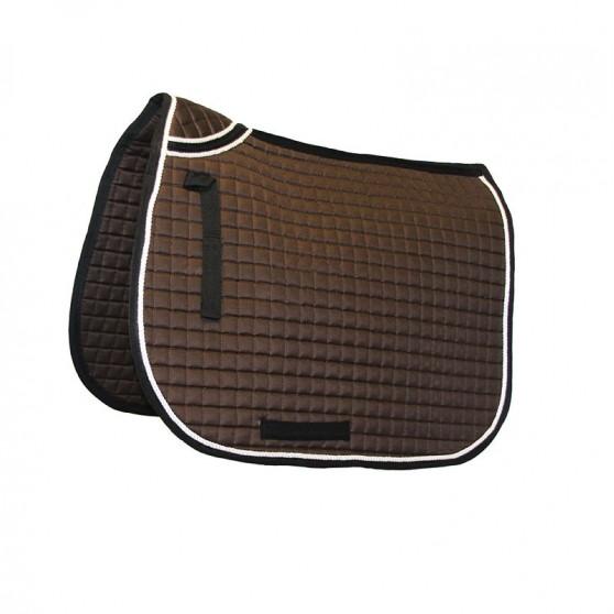 Tapis de selle avec renfort au garrot pour cheval DMH Equitation Chocolat