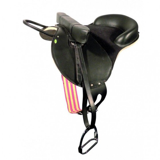 Selle bardette sécurité complète en cuir poney ou shetland