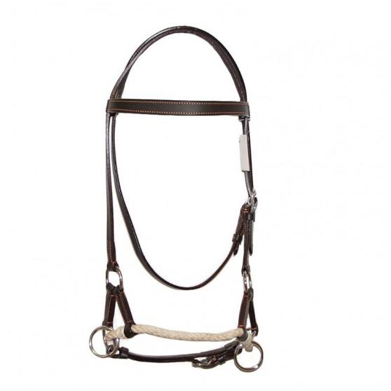 Side-Pull cuir et corde Marron