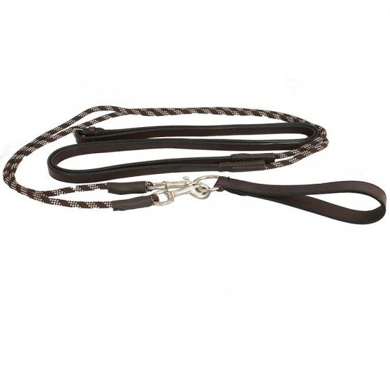 Rênes allemandes cuir corde DMH Equitation marron