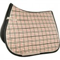 Tapis de selle cheval tissus type Burberry HKM