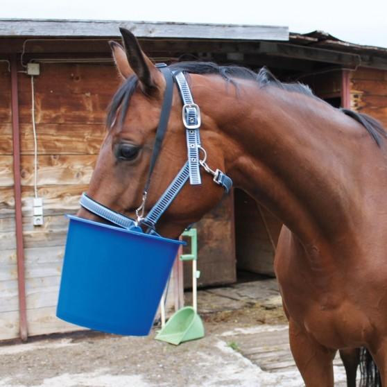 Seau mangeoire individuelle pour chevaux