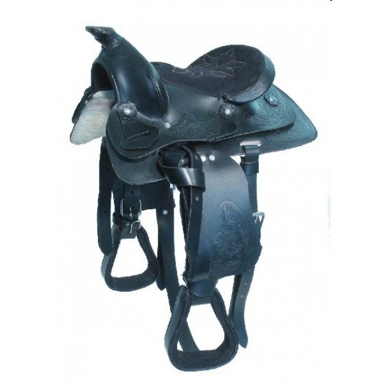 Selle Western Cuir Indiana Shetland Poney Ou Cheval