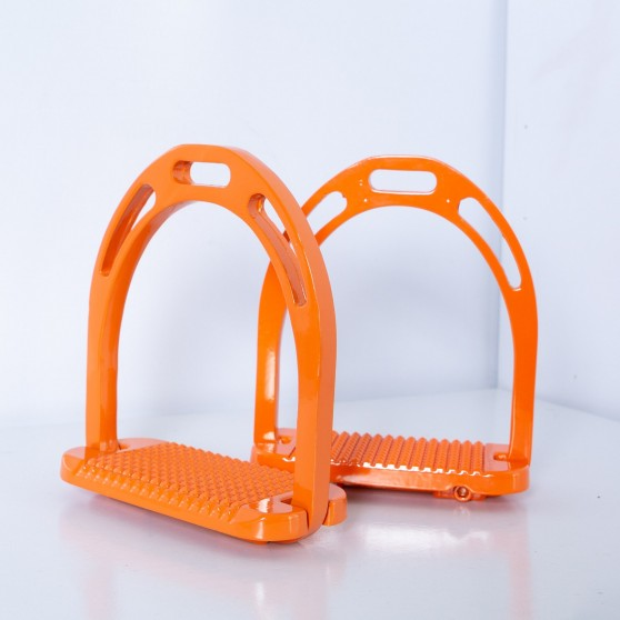 Etriers aluminium profil 5 étoiles DMH Equitation Orange