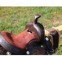 Selle western cuir  décorée US tanned heat adultes