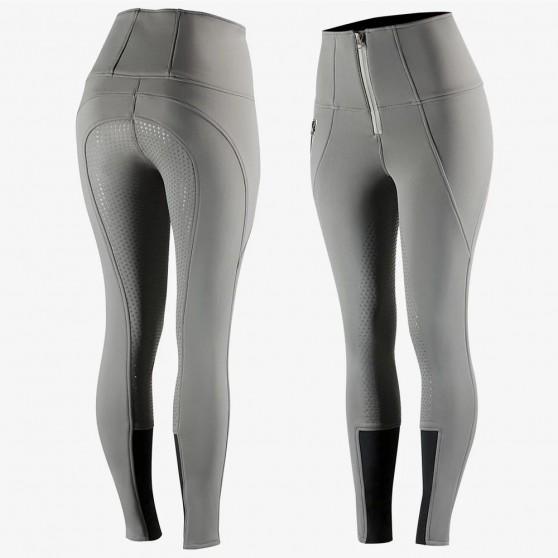 Pantalon d'équitation Softshell Thermique Silicone Fond intégral Horze Lydia femme Gris