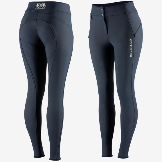 Pantalon d'équitation thermique silicone fond intégral Justine B Vertigo Bleu foncé
