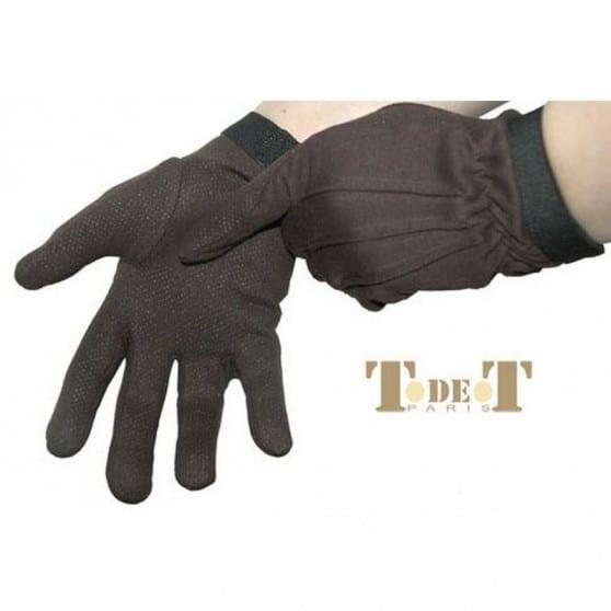 Gants initiation coton cuir TdeT  Marron foncé